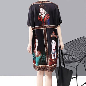 Portrait Print Vintage Dress - VioletMosh