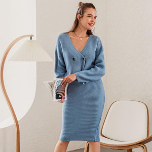 V-neck 2-piece Knitted Sweater Dress - VioletMosh