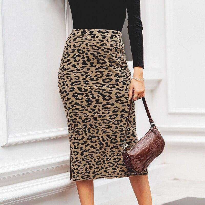 High Waist Knitted Leopard Midi Skirt - VioletMosh