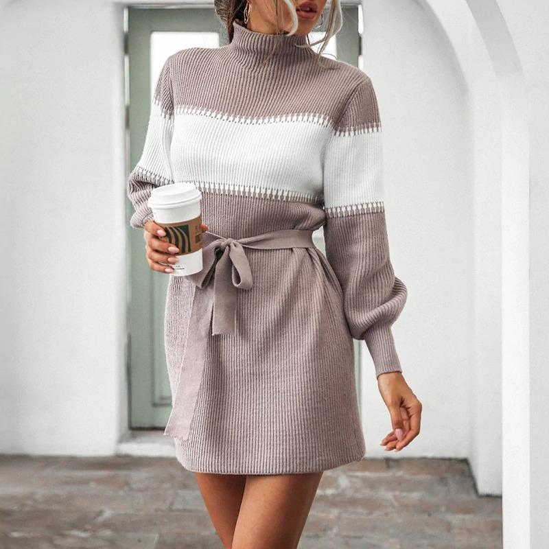 Lace-up striped sweater dress - VioletMosh