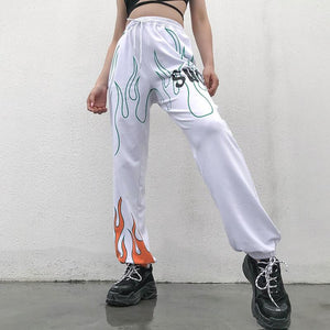Flame Print High-Waist Sweatpants - VioletMosh