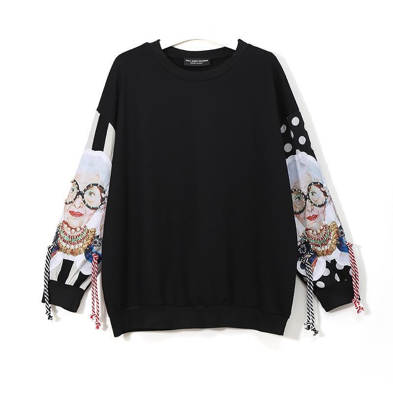 Black Long Sleeve Sweatshirt with Tassel and Print - VioletMosh
