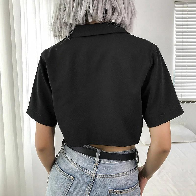 Single Button Short Sleeve Cropped Jacket - VioletMosh