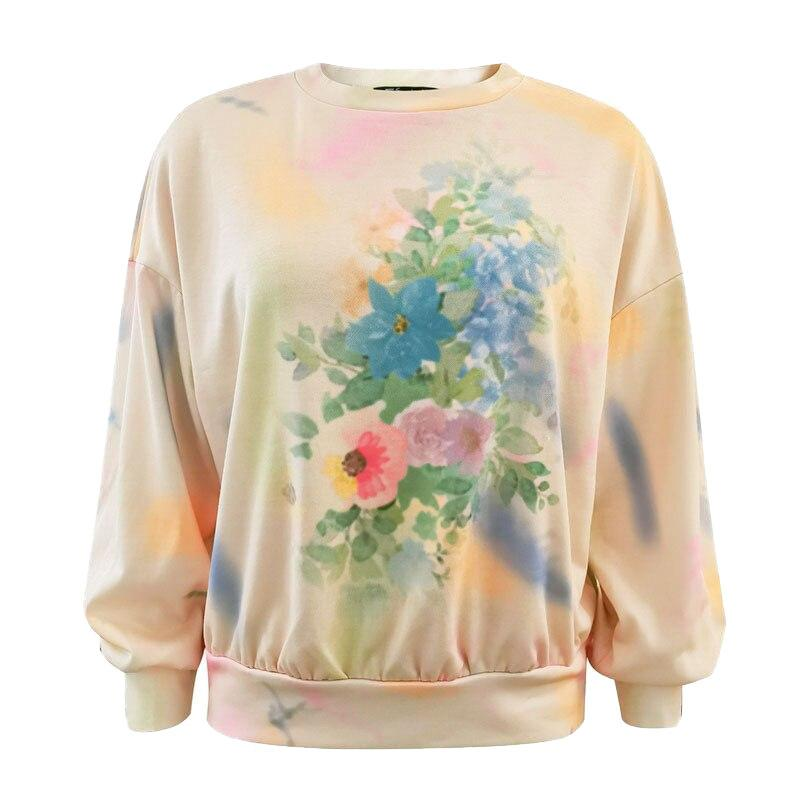 Floral print drop shoulder sweatshirt - VioletMosh