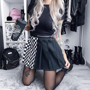 Contrast Color Black Pleated Skirt - VioletMosh
