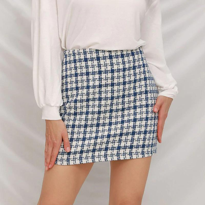 High Waist Plaid Mini Skirt - VioletMosh