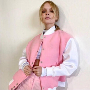 Patchwork Sweet Pink Bomber Jacket - VioletMosh