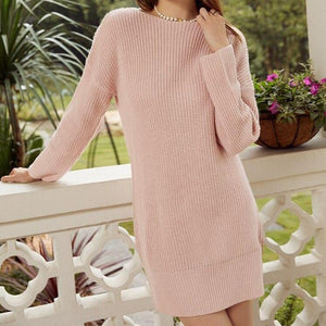 Women's knitted oversized backless dress - VioletMosh