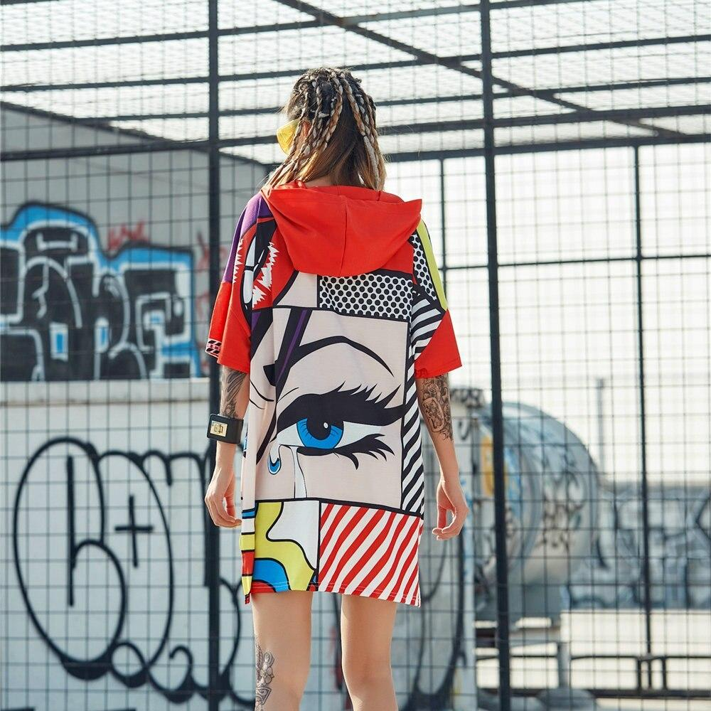 Oversized Hooded T-shirt with Print - VioletMosh
