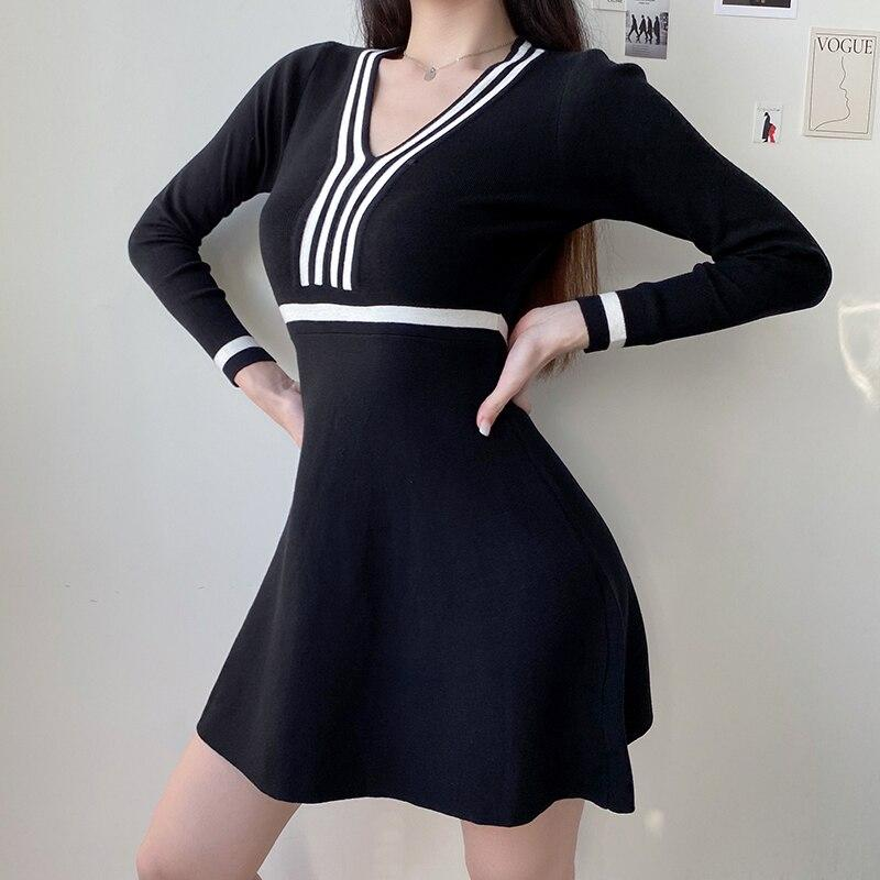Preppy Style Striped Knitted Sweater Dress - VioletMosh
