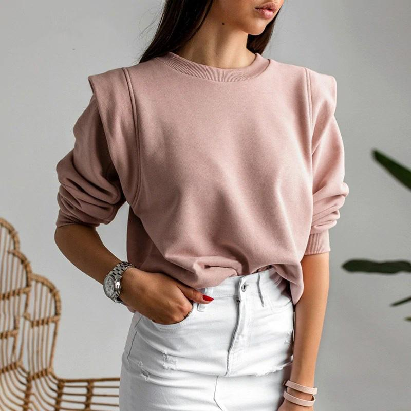 Casual Pink Knitted Sweatshirt - VioletMosh