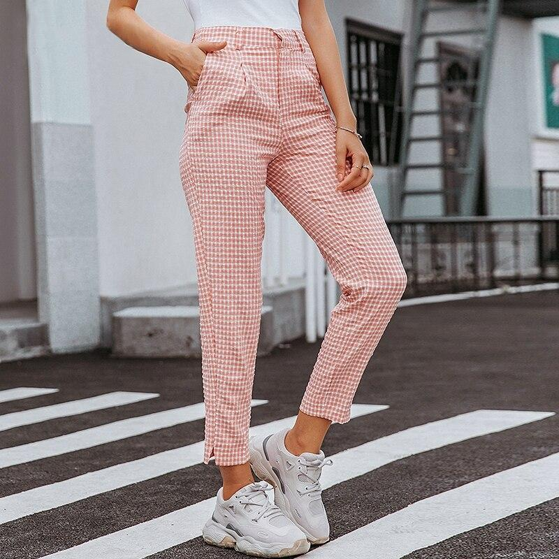 Casual Pink Plaid Pants - VioletMosh