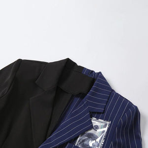 Striped Single-Breasted Patchwork Jacket - VioletMosh