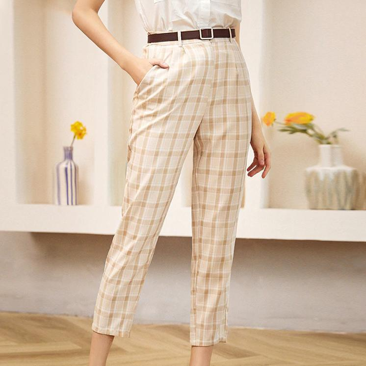 Casual Plaid Pencil Pants - VioletMosh