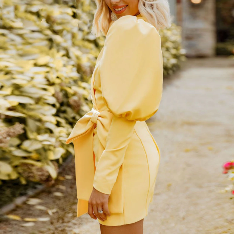 Yellow Lantern Sleeve Bodycon Dress