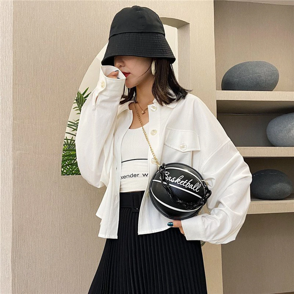 Basketball Round Shaped Crossbody Bag