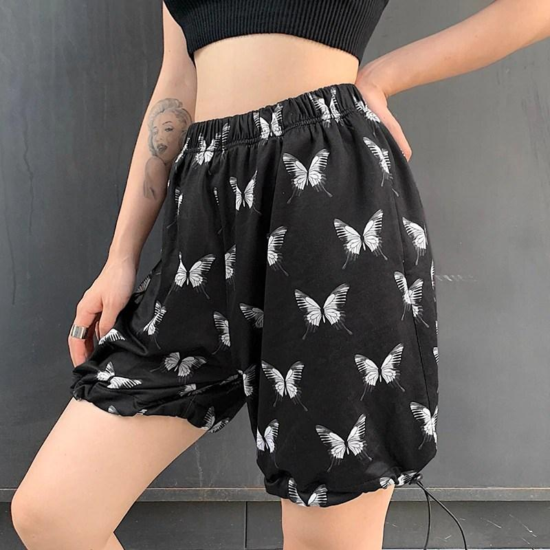 Butterfly Print High Waisted Shorts - VioletMosh