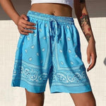 Cashew Flower Print High-Waisted Hip-Hop Shorts - VioletMosh