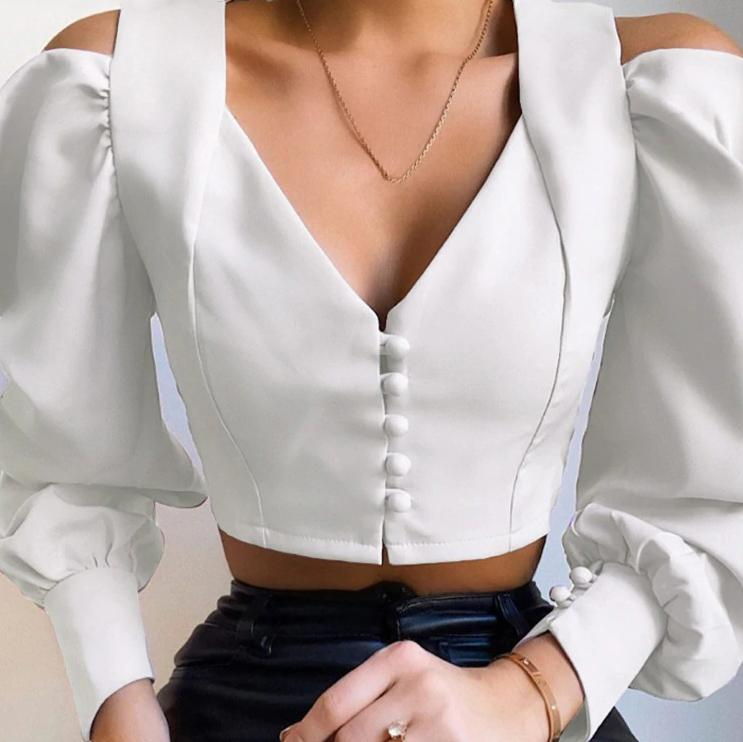V Neck White Cropped Blouse - VioletMosh