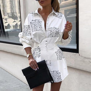 Letter Print Long-Sleeve Mini Dress - VioletMosh