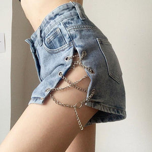 Criss-Cross Side-Chain Decorated High-Waisted Denim Shorts - VioletMosh