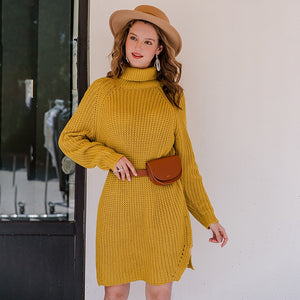 Turtleneck Yellow Sweater Dress