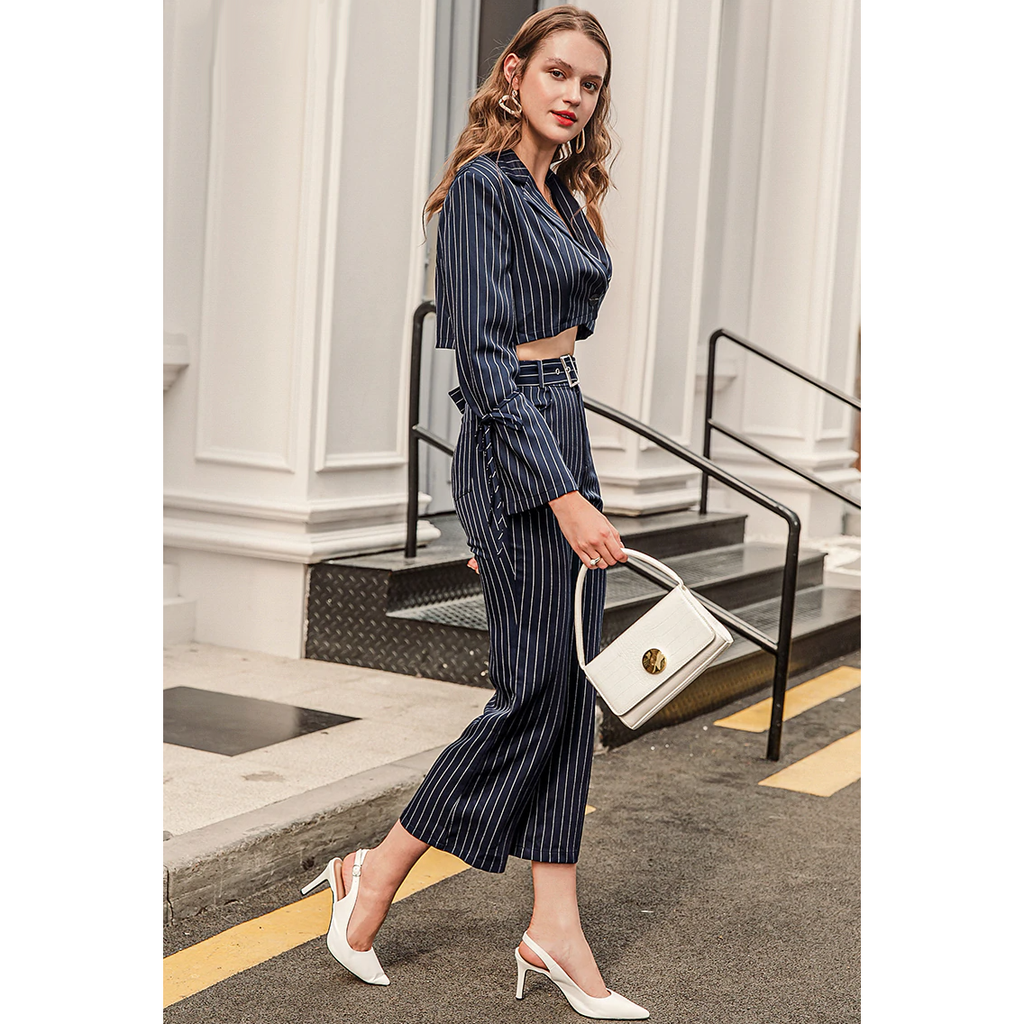 Navy Blue Striped Two-Piece Suit