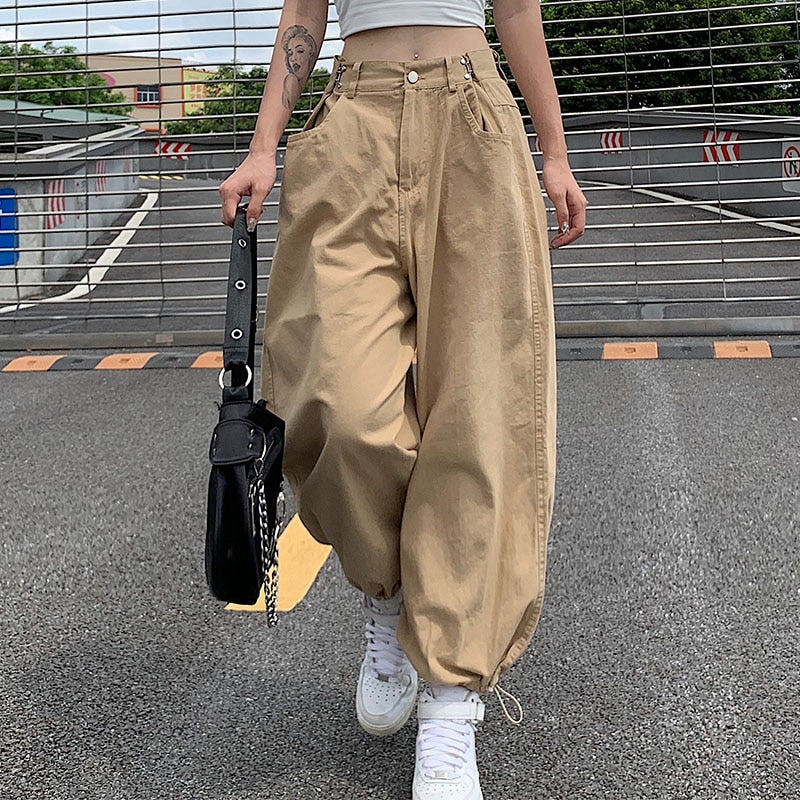 Adjustable High Waisted Harem Pants