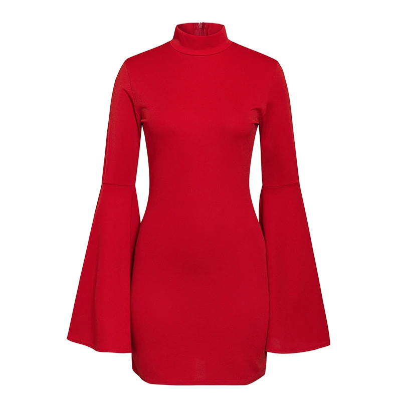 Red Long Flare Sleeve Dress