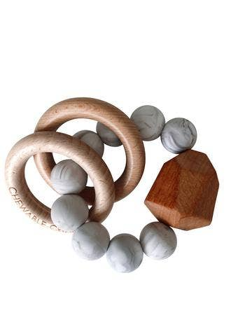 Hayes Silicone + Wood Teether Ring - Howlite