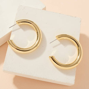 1.5 inch Secret Box Gold Dip Hoop Earrings