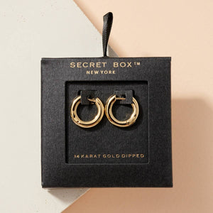 Secret Box Mini Gold Dip Hoop Earrings