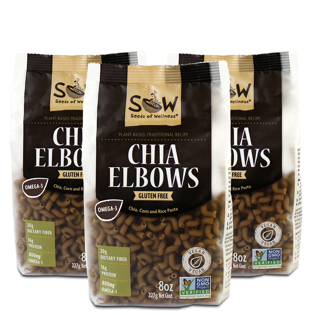 CHIA ELBOWS 3-PACK
