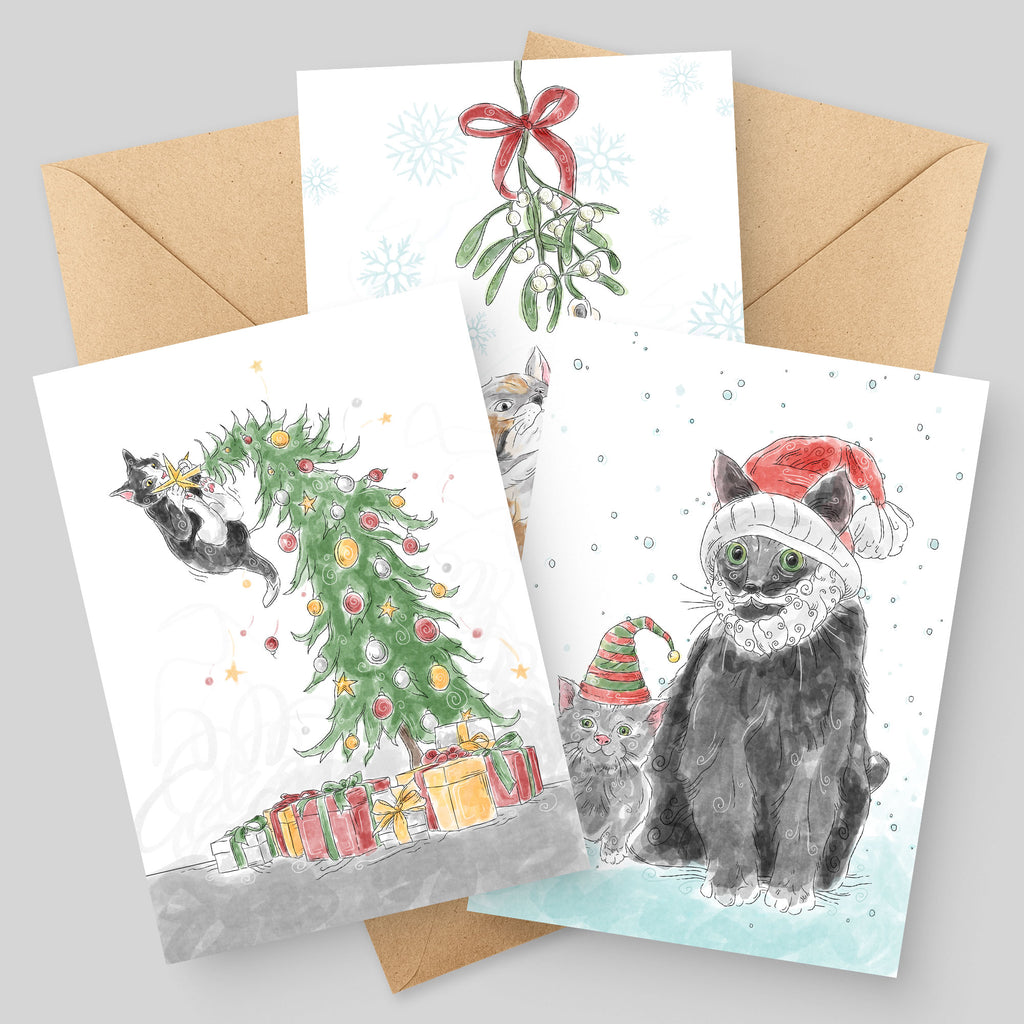 Catmas Holiday Greeting Cards - 3 Pack