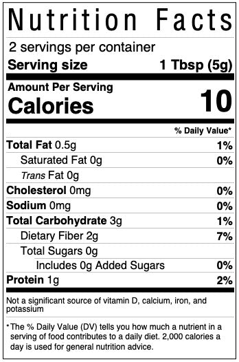Nutrition facts panel for dutch cocoa powder included in every Kids' Cake Boxes personal-sized cake kits for virtual parties
