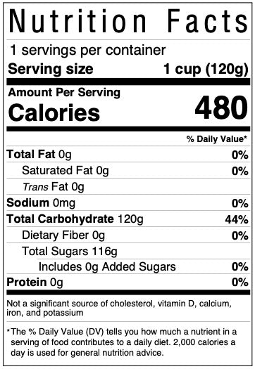 Nutrition facts panel for frosting mix included in every Kids' Cake Boxes personal-sized cake kit for virtual parties