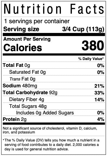 Nutrition facts panel for gluten free cake mix included in Kids' Cake Boxes personal-sized cake kit for virtual parties