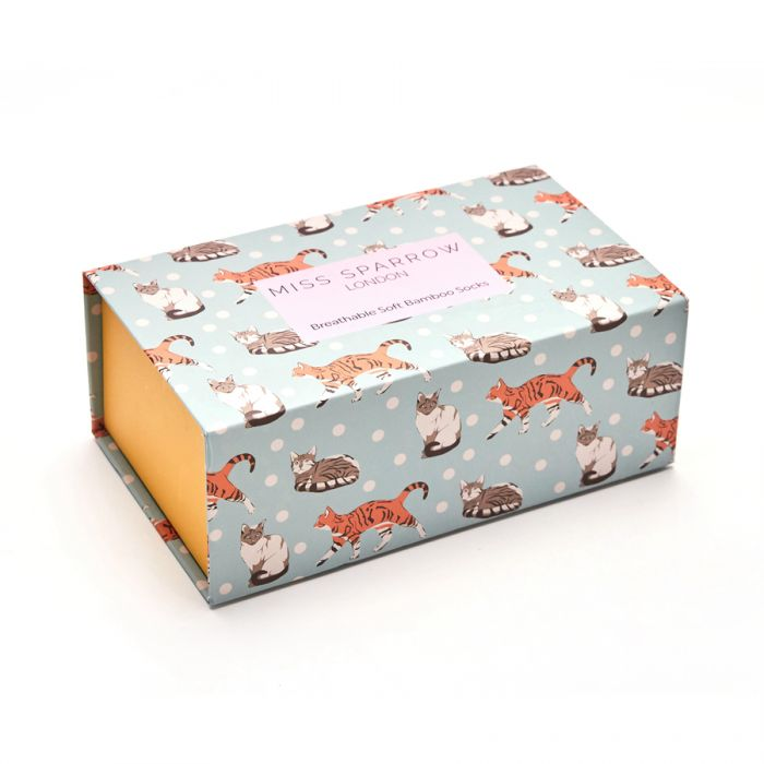 Bamboo Socks in Boxes - Miss Sparrow - Cats & Spots