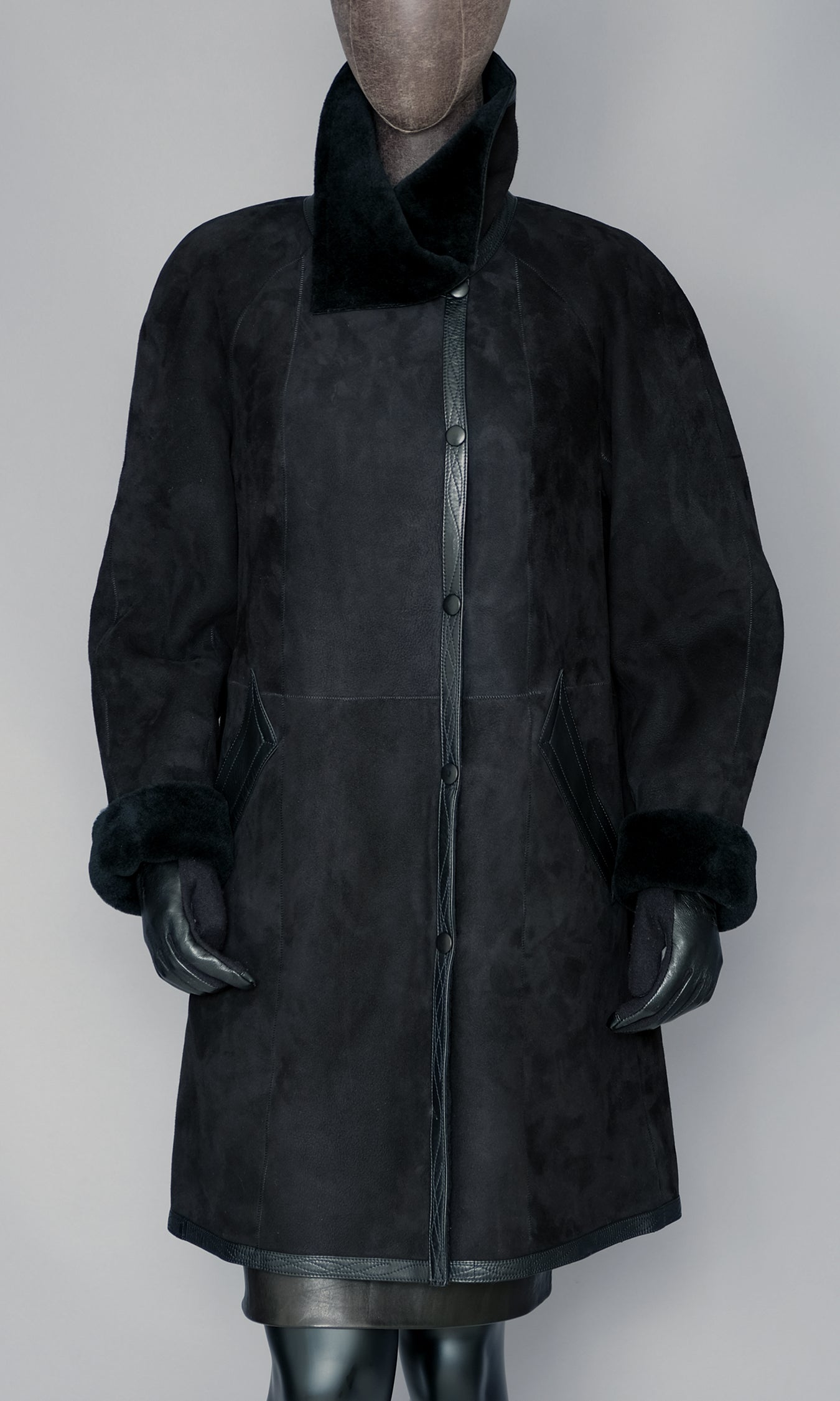 Black Shearling Coat size small 8