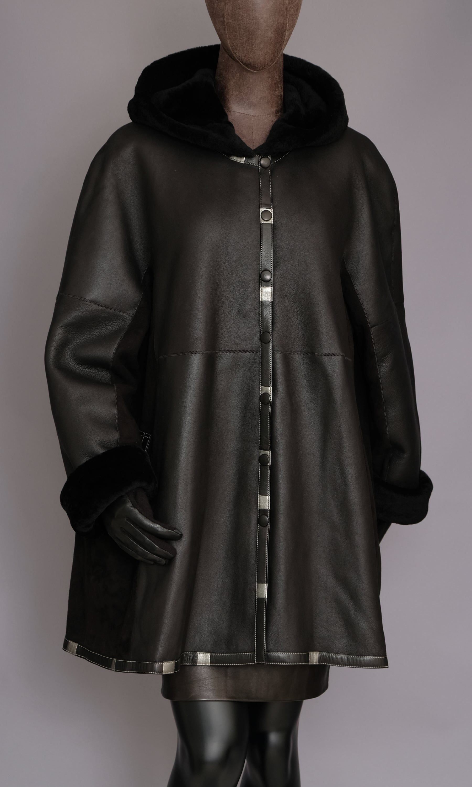 Black Leather and suede mix shearling swing coat with hood size xxl
