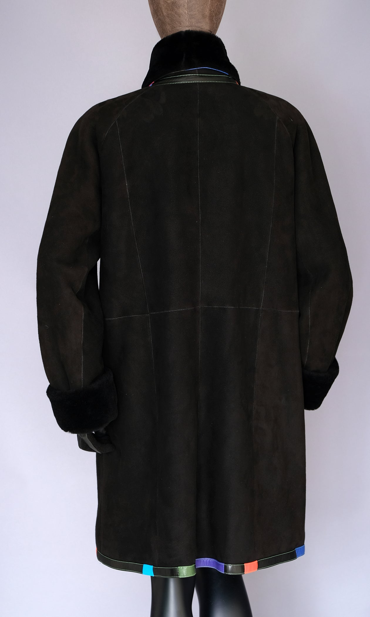 black suede shearling coat size xl