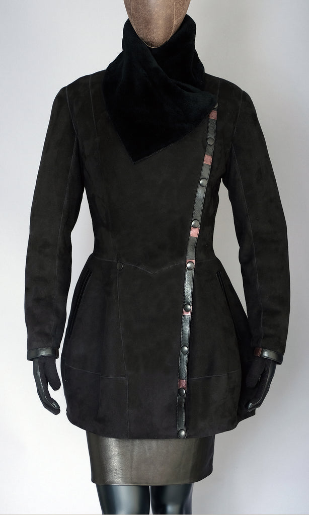 black suede merino shearling peplum jacket size medium 10