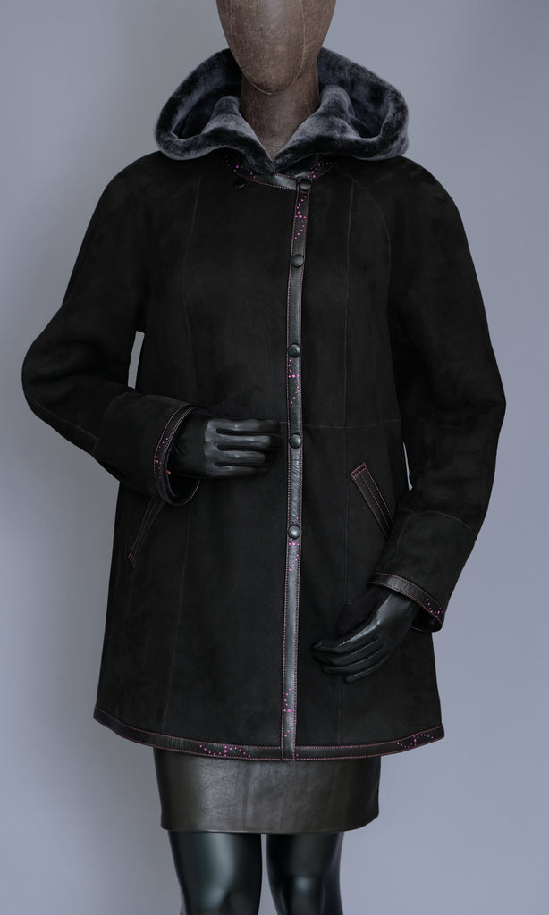 Black Shearling Coat Jacket with Hood
