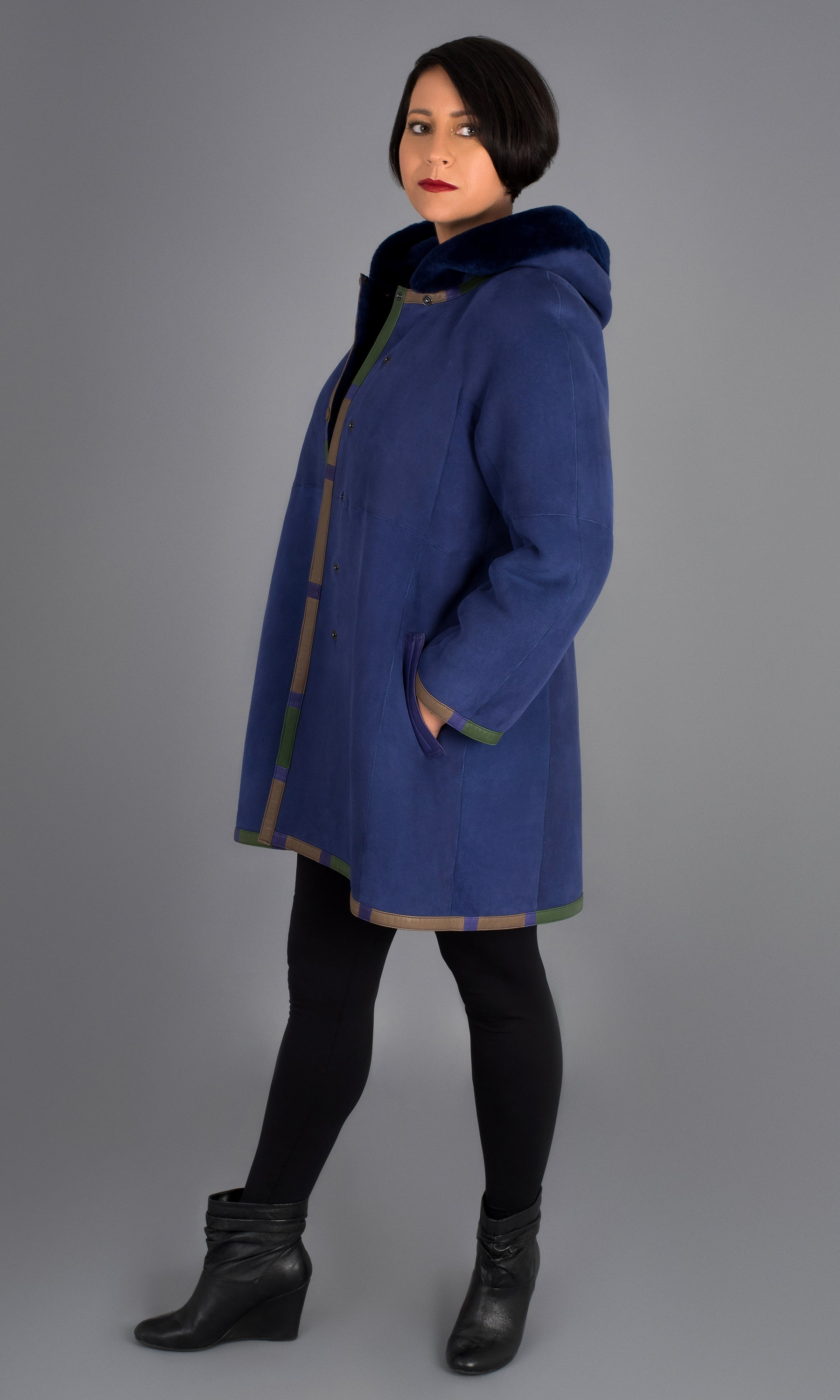 Blue Shearling Swing Coat with hood size medium