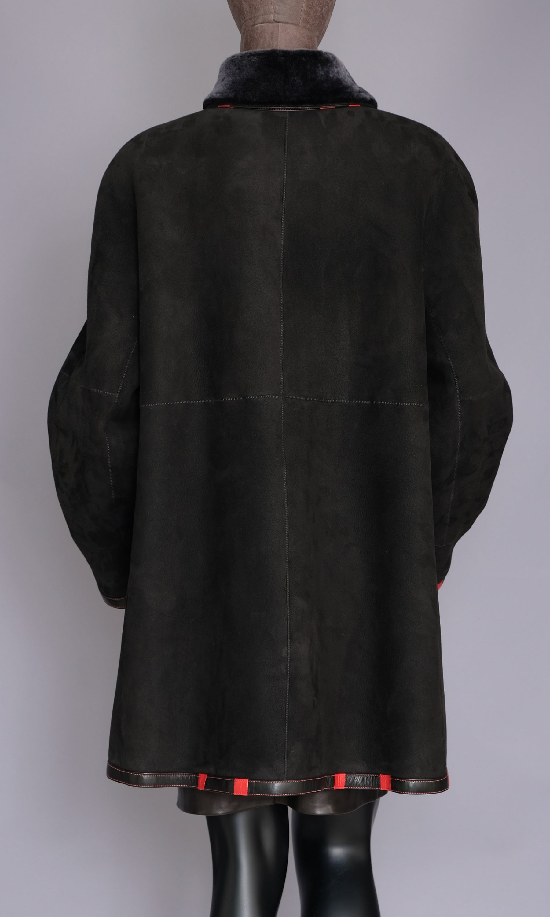 Black Shearling Swing Coat with Red trim size xxl