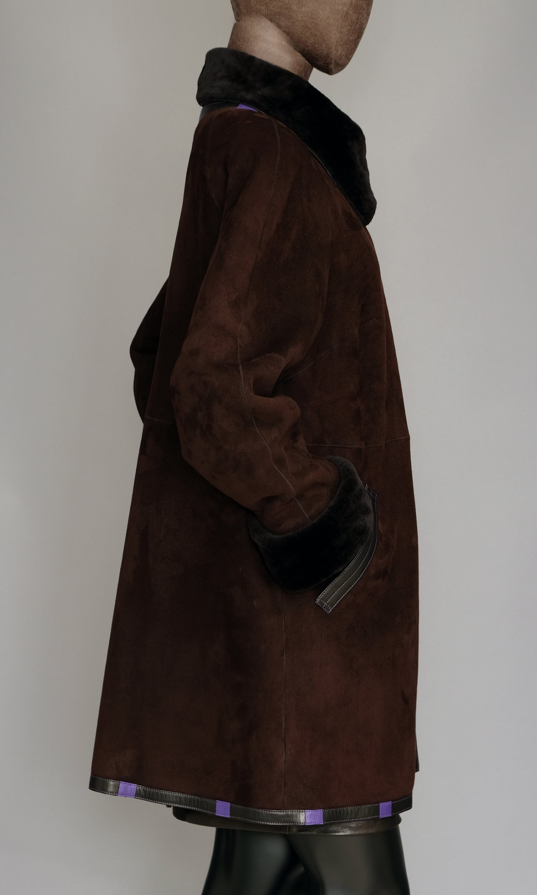 Ebony Shearling  Short Swing Coat size L