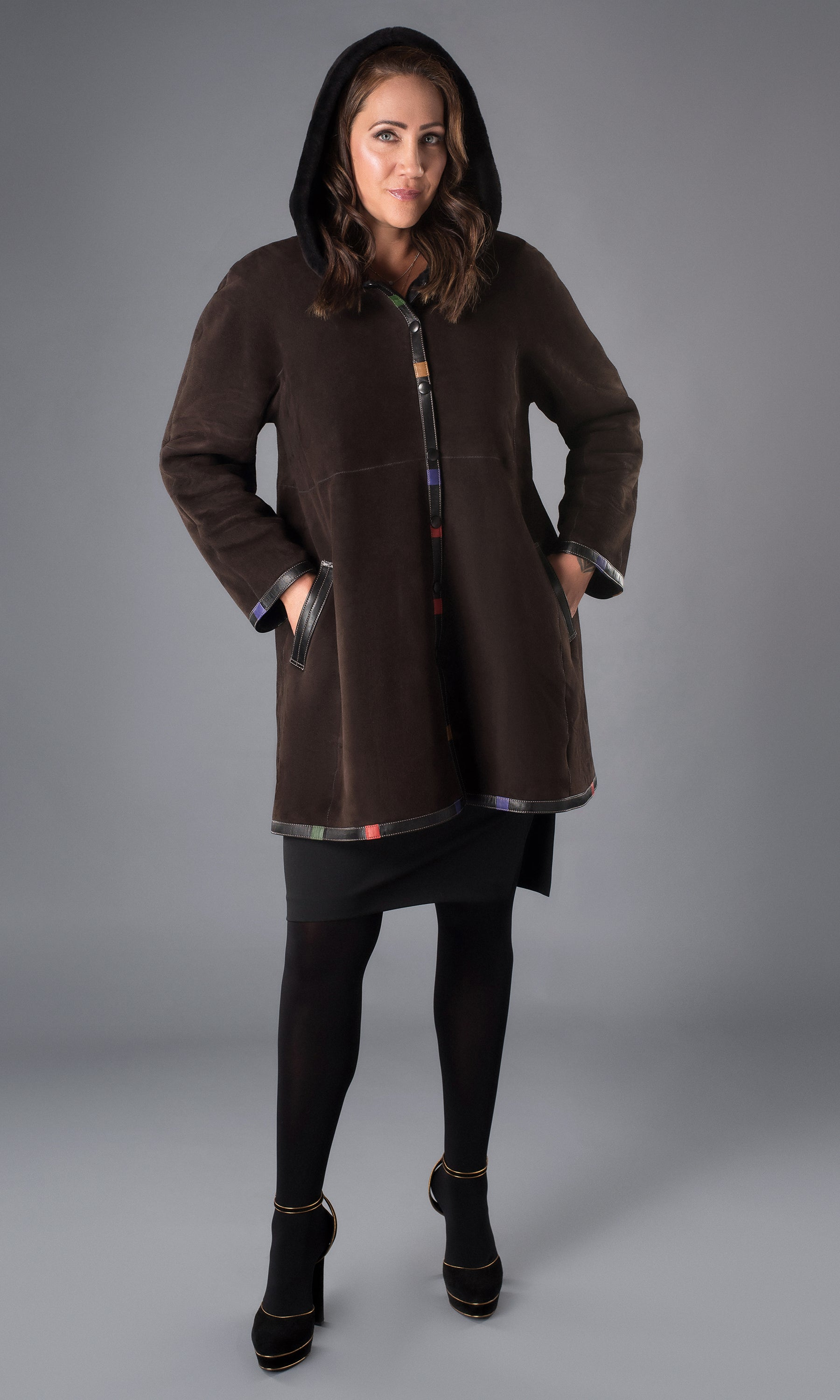 brown shearling full swing coat with hood size medium