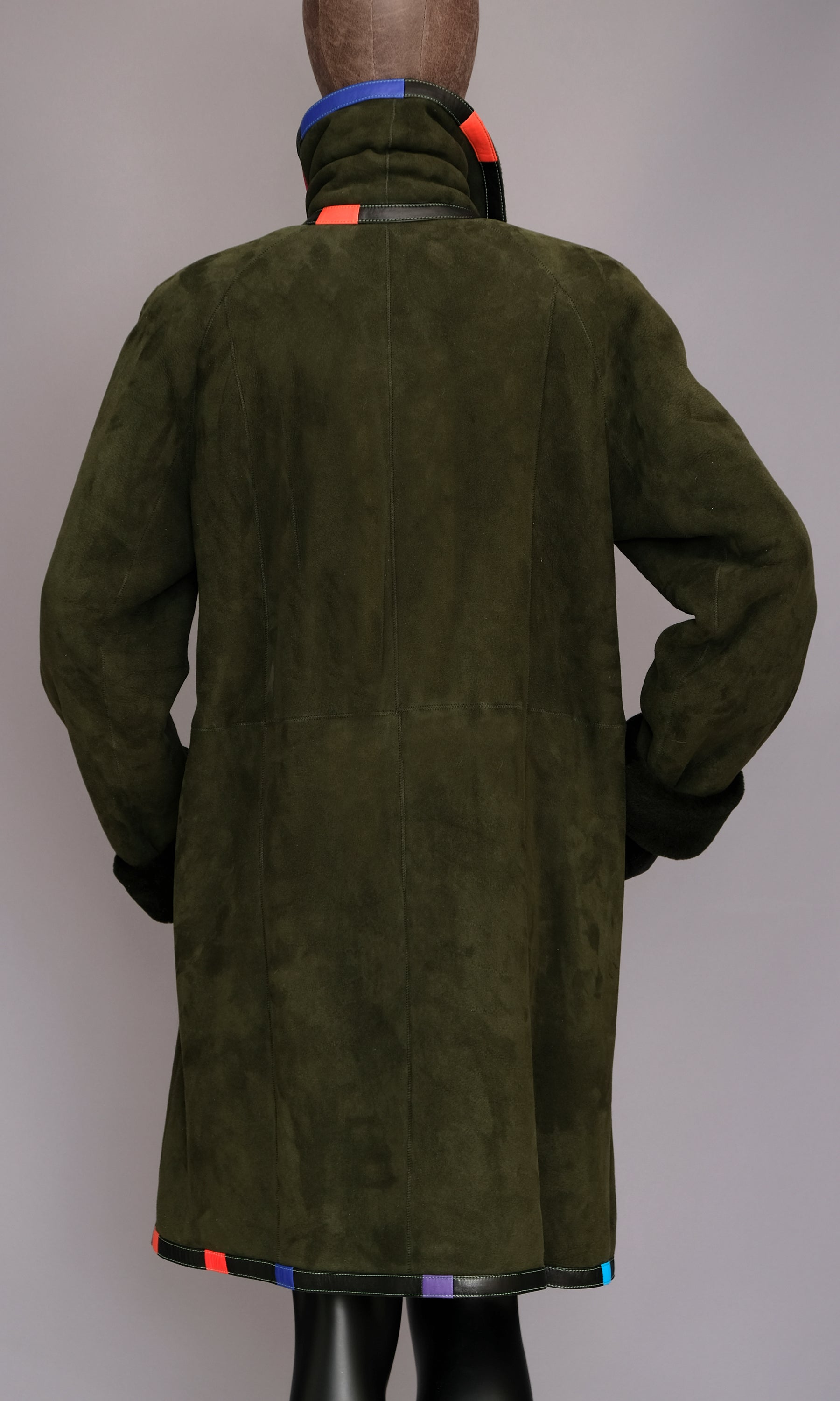 Green shearling coat size medium (10)