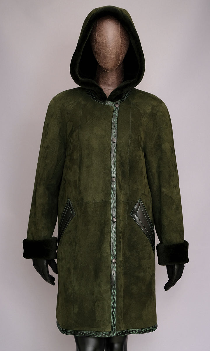 Women's Green Shearling Coat with Hood size small 8