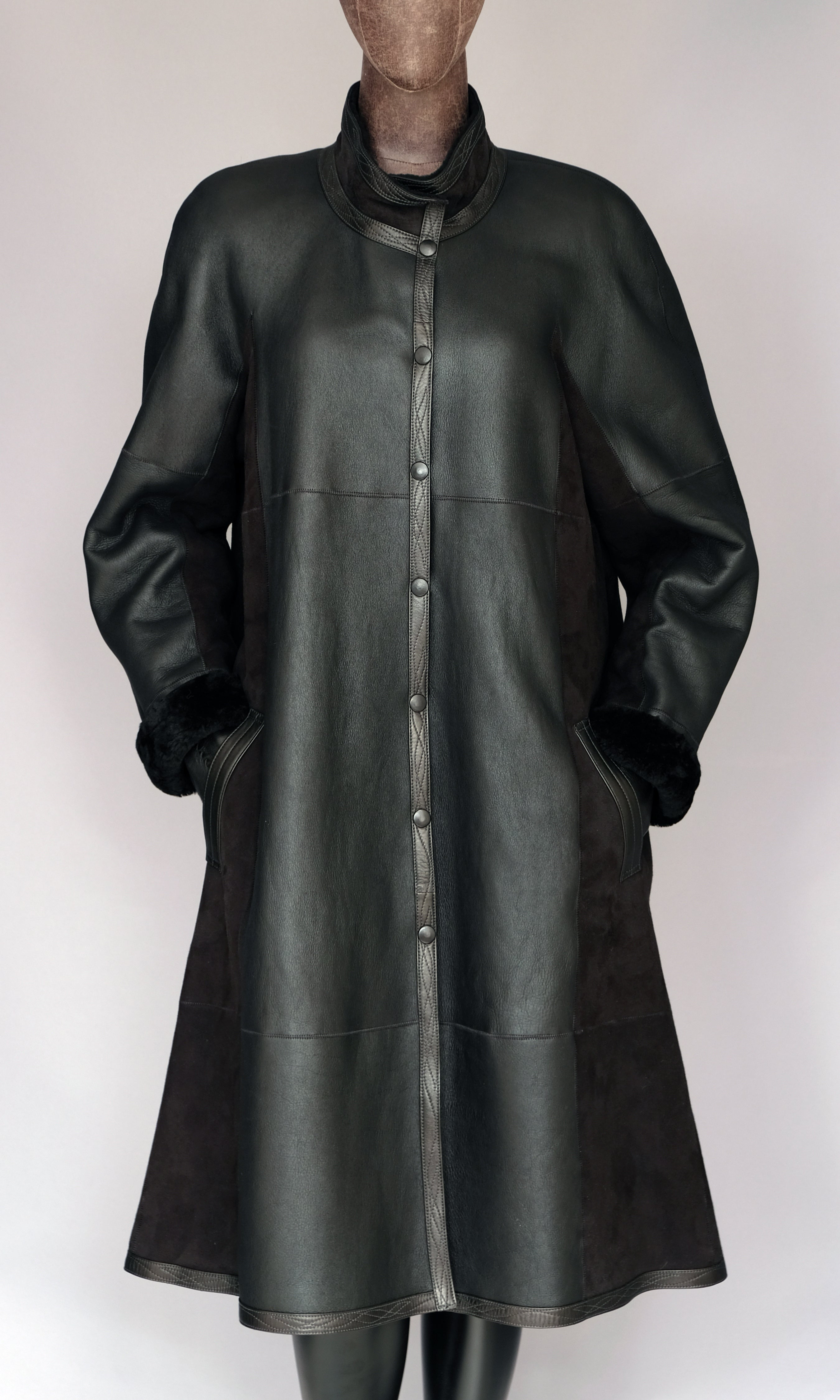 Long Black Shearling Coat size medium (10)